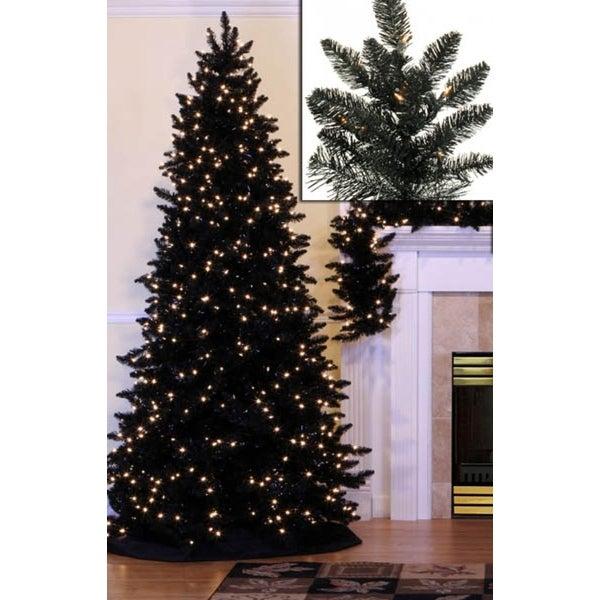 7.5' Pre-Lit Slim Black Ashley Spruce Artificial Christmas Tree - Clear Lights