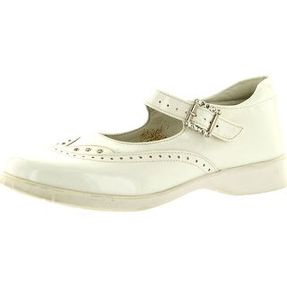 Oxford Girls 3053 White Patent Made In Italy Dress Flats Shoes - White Patent