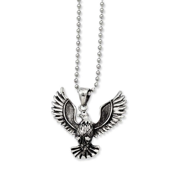 Stainless Steel Antiqued Screaming Eagle Pendant 22in Necklace (2 mm) - 22 in