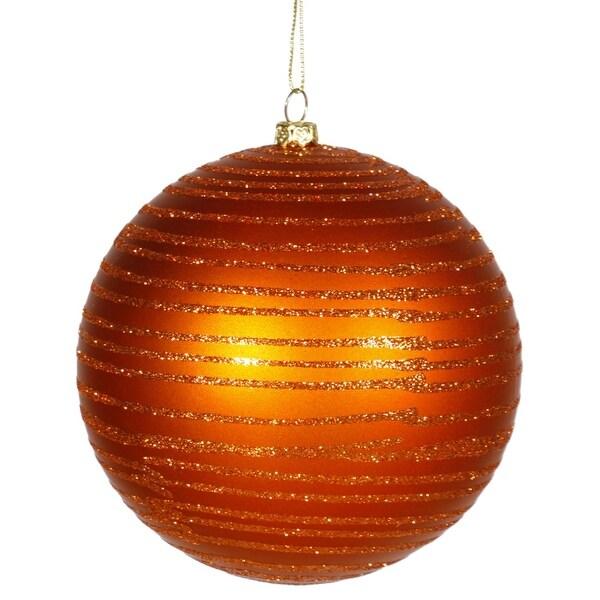 """Burnt Orange Glitter Striped Shatterproof Christmas Ball Ornament 4.75"""" (120mm)"""
