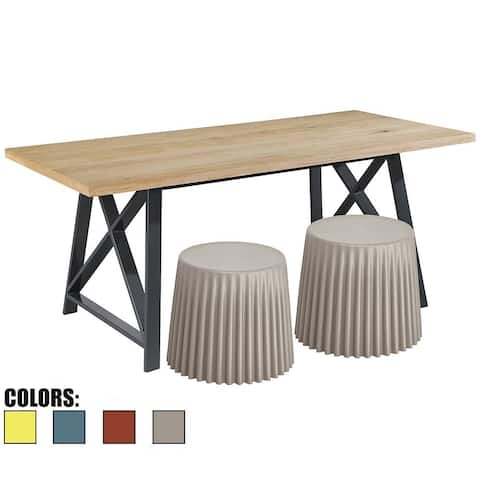 (Retired) Grey Set Of 2 Multi-Functional Cupcake Stool Dining Chairs - Ottomans - or End Table