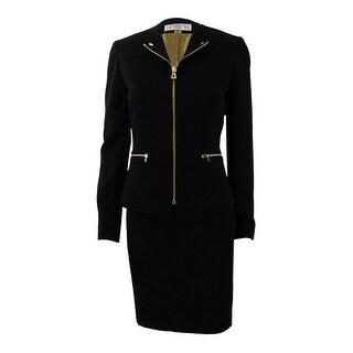 Tahari ASL Women's Petite Zip-Front Moto Skirt Suit (0P, Black) - Black - 0p