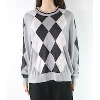 Lauren by Ralph Lauren Gray Women's XL Argyle Crewneck Sweater