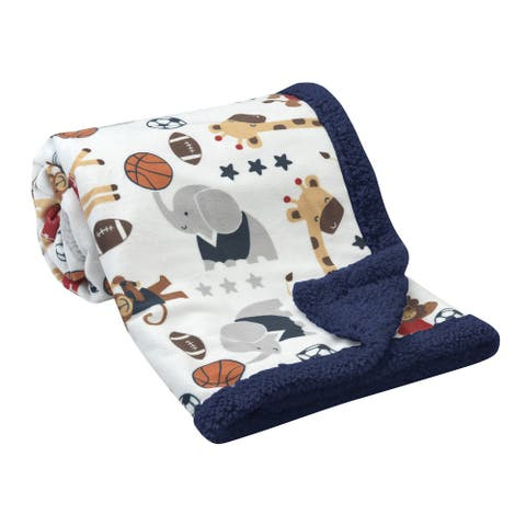 Lambs & Ivy Future All Star Animal Sports Minky and Sherpa Baby Blanket