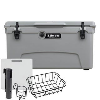Elkton Outdoors 75 Quart Ice Chest With Bear Resistant Lock Plates, Bottle Opener, & Full Fishing Accessory Kit