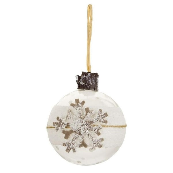 "3"" Winter Light Snowy Gray Snowflake Polka Dot Glass Ball Christmas Ornament"