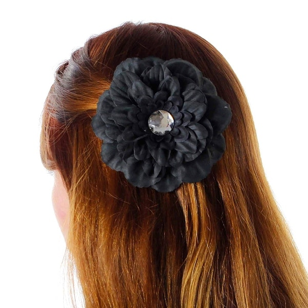 Old Hollywood Flower Clip with Rhinestone Center