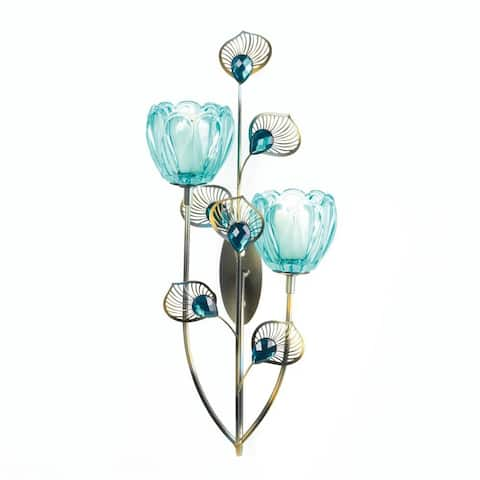 Vintage Peacock Blossom Duo Cup Sconce