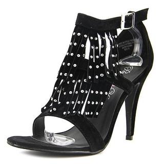 Penny Loves Kenny Lance Women Open Toe Suede Black Sandals