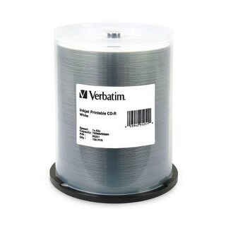 """Verbatim VER95252S Verbatim 700 MB 52x 80 Minute White Inkjet Printable Recordable Disc CD-R, 100-Disc Spindle 95251"""