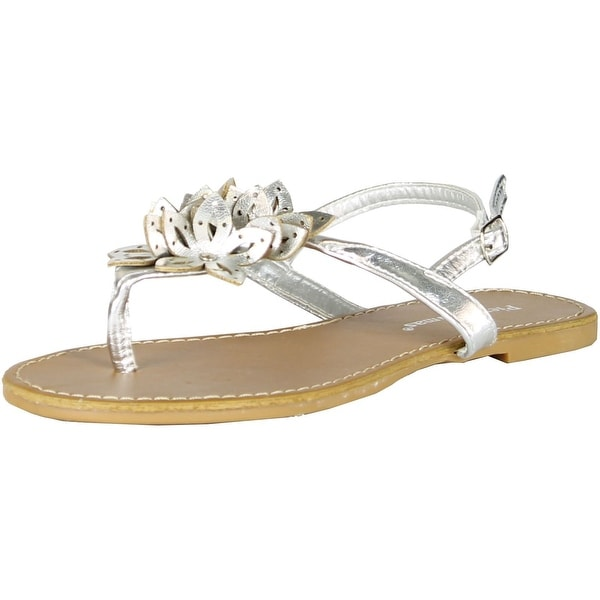 Pierre Dumas Womens Fashion Flower Sandals - Silver