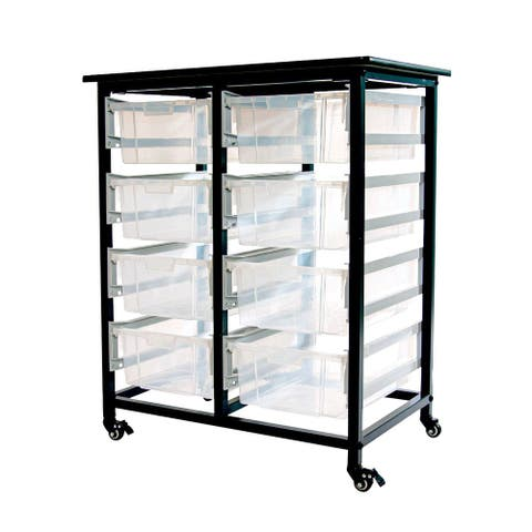 Luxor Furniture Mobile Bin Storage Unit - Double Row with Large Clear Bins