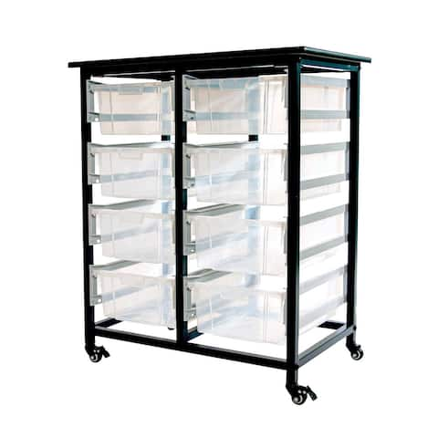Offex Double Row Mobile Bin Storage Unit with Large Clear Bins