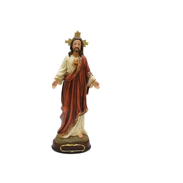 "12"" Sacred Heart of Jesus Religious Christmas Table Top Figure - RED"
