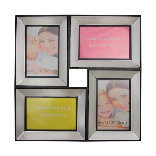 "13.75"" Black Trimmed Glass Encased Photo Picture Frame Collage Wall Decoration"