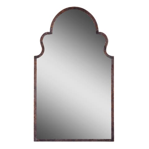 Uttermost 12668 P Brayden Arched Hand-Forged Metal Framed Wall Mirror - Textured Dark Brown