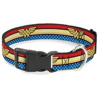 Buckle-Down Wonder Woman Logo Stripe Pet Collar - Large