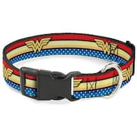 Buckle-Down Wonder Woman Logo Stripe Pet Collar - Medium
