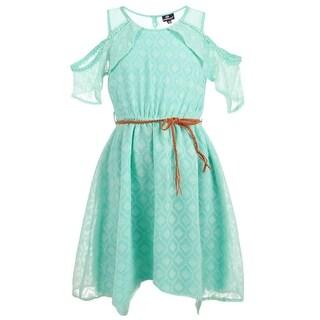 Dollhouse Girls Aqua Cold-Shoulder Braided Belt Overlaid Dress