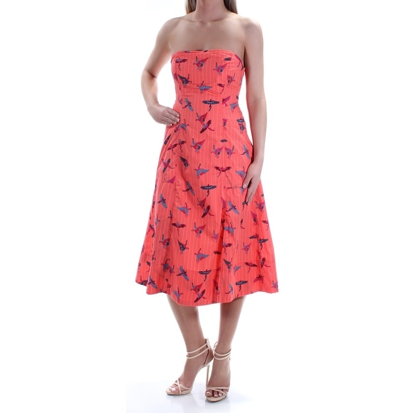 bd2f26072bea3 Shop Womens Coral Blue Striped Birds Midi Fit + Flare Dress Size  2 - Free  Shipping On Orders Over  45 - Overstock - 22645911