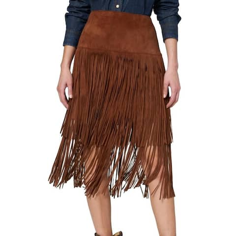 Stetson Western Skirt Womens Fringe Leather Zipper