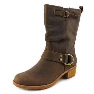 Hush Puppies Emelee Overton Women W Round Toe Leather Brown Mid Calf Boot