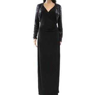 Lauren By Ralph Lauren NEW Black Women's Size 2 Sequin Surplice Gown