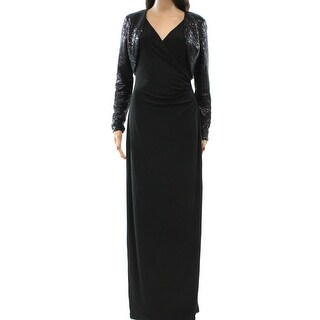 Lauren Ralph Lauren NEW Black Sequin Jacket 12 Maxi Gown Dress Set