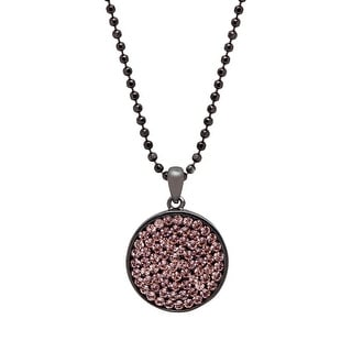 Crystaluxe Circle Pendant with Swarovski Crystals in Oxidized Sterling Silver - Pink