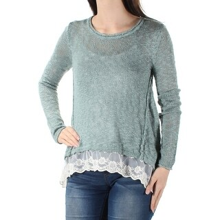 HIPPIE ROSE $24 Womens New 1521 Green Lace Trapeze Sweater XS Juniors B+B