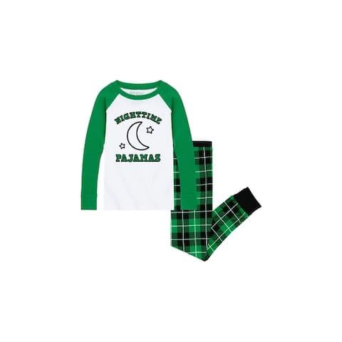 Nighttime Pajamas - Children's Pajama Set - White/Green