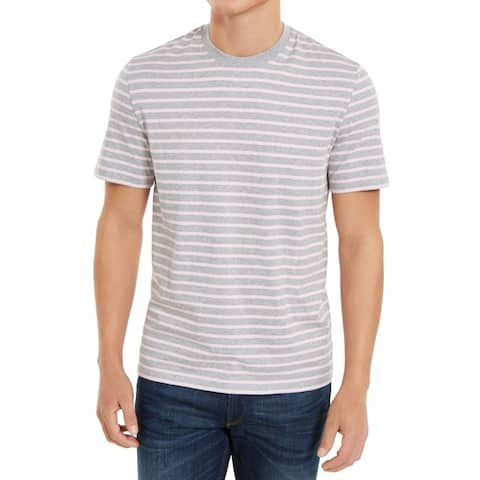 DKNY Mens T-Shirt Pink Gray Size Large L Crewneck Feeder Striped Tee
