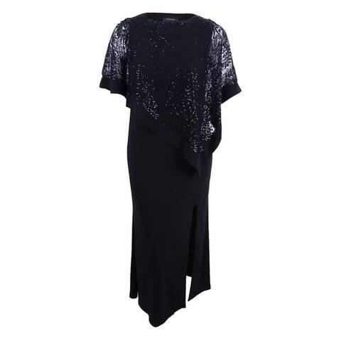 R&M Richards Women's Sequined Lace Cold-Shoulder Cape Gown