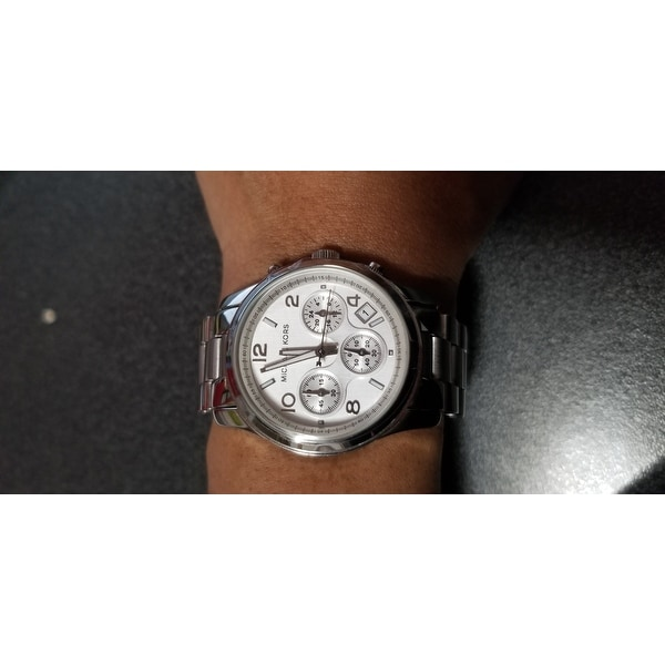 8e75e23363e4 Shop Michael Kors Women s MK5076 Classic Stainless Steel Silver Chronograph  Watch - Free Shipping Today - Overstock - 5733982