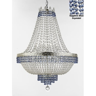 Empire Crystal Chandelier With Blue Crystal