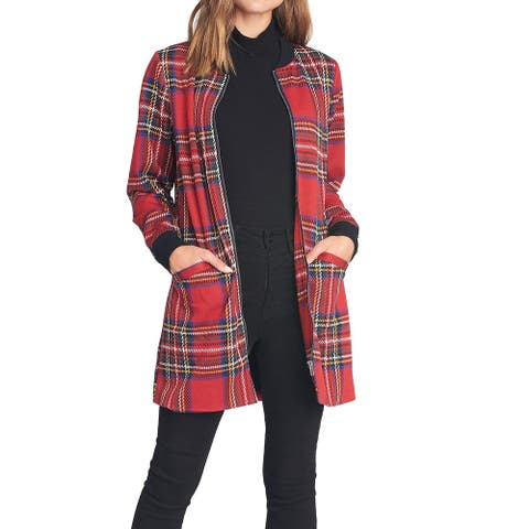 Sanctuary Womens Jacket Red Size Small S City Topper Zip Front Plaid