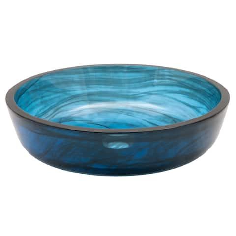 Transparent Dark Blue Mist Flat Bottom Glass Vessel Sink