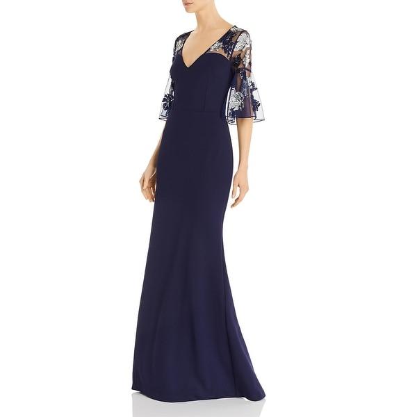 Aidan Mattox Womens Formal Dress Sequined Bell Sleeves - Navy. Opens flyout.