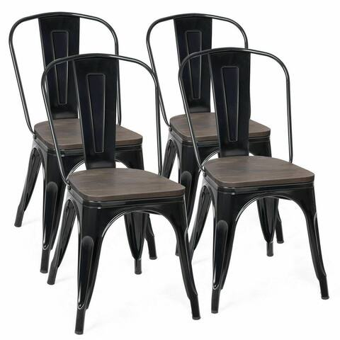 Costway Set of 4 Dining Side Chair Stackable Bistro Metal Wood Stool
