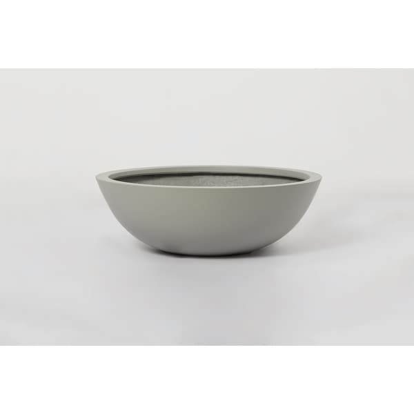 Indoor/Outdoor Large Nordic Minimalist Fiberstone Lightweight Round Low Bowl Planter Pot - 20,16,12 in Matte Finish - Succulents. Opens flyout.