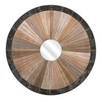 """40.25"""" Brown and Distressed Black Wood and Metal Decorative Round Wall Mirror"""