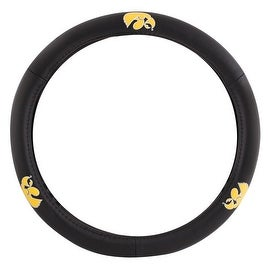 Pilot Automotive Black Leather University of Iowa Hawkeye Car Auto Steering Wheel Cover