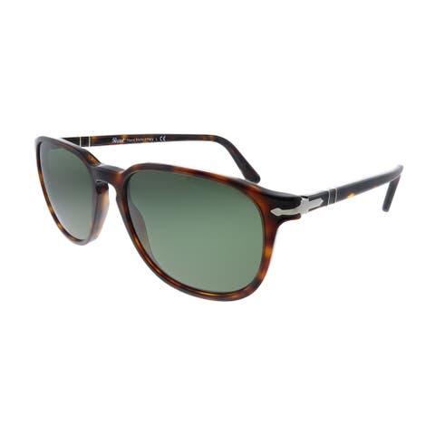 Persol PO 3019S 24/31 55mm Unisex Havana Frame Green Lens Sunglasses