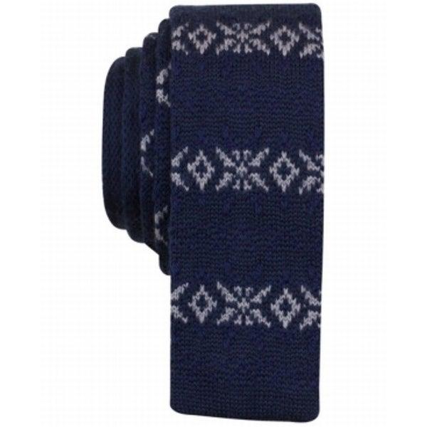 Bar III NEW Blue Anderson Knit Slim Fair Isle Men's Holiday Necktie