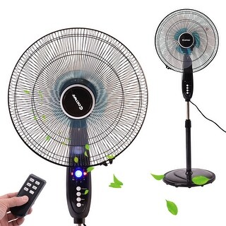Costway 16'' Adjustable Oscillating Pedestal Fan Stand Floor 3 Speed Remote Control Timer