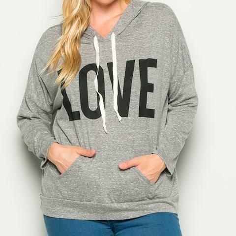 Heather Grey Love Hoodie Sweater Top Plus Size