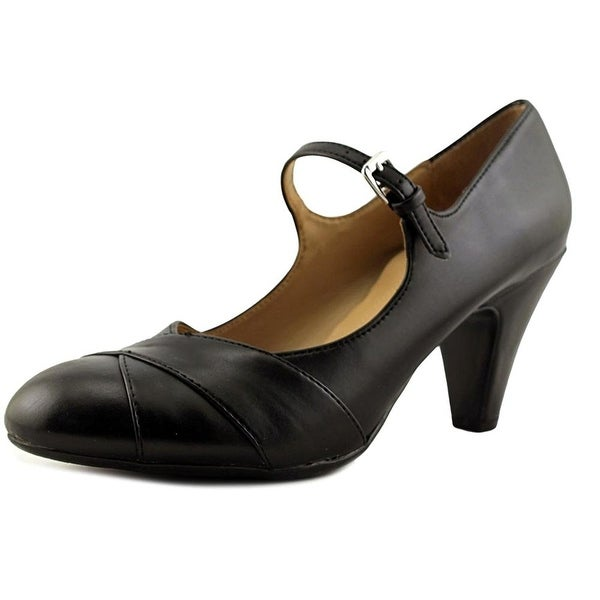 Naturalizer Womens Layton Leather Round Toe Ankle Strap Classic Pumps