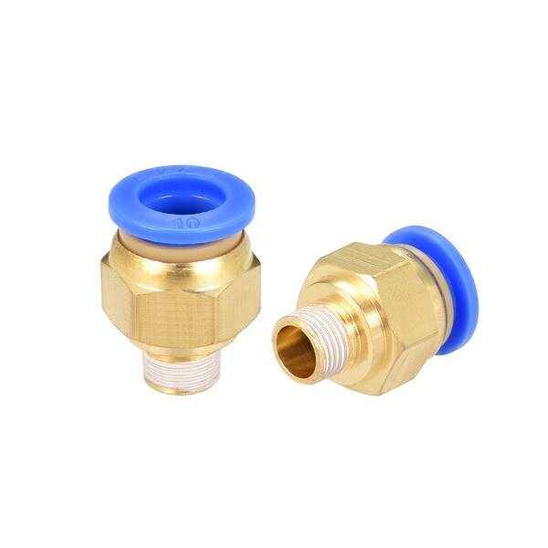 "2 Pcs 1/8"" G Male Straight Thread 10mm Push In Joint Pneumatic Quick Fittings"