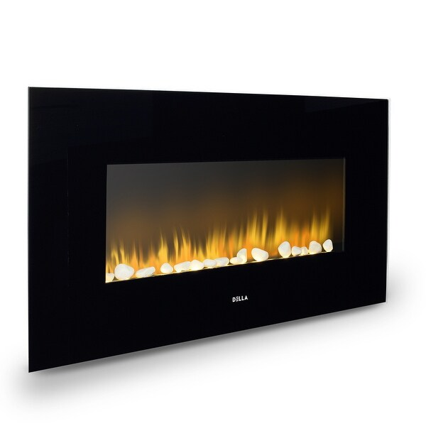 "Della 37""inch XL Heat Electric Wall Mount Adjustable Fireplace Heater Recessed with Remote Control, 1400w, Black"