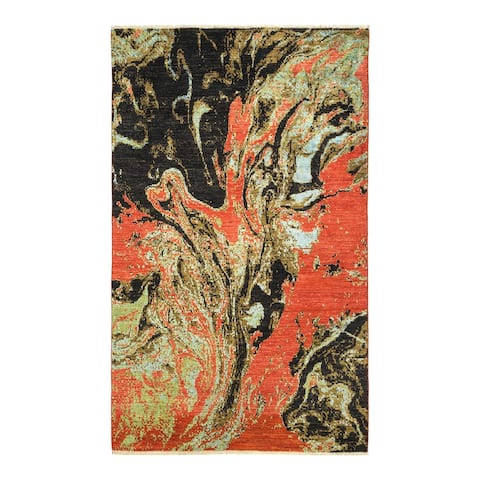 """Eclectic, One-of-a-Kind Hand-Knotted Area Rug - Orange, 5' 1"""" x 8' 3"""" - 5' 1"""" x 8' 3"""""""